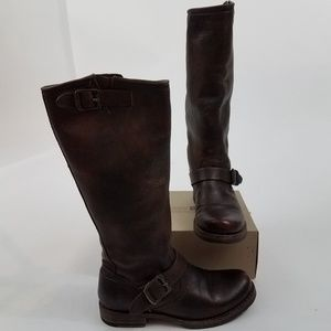 Frye veronica slouch leather boots tall dark brown